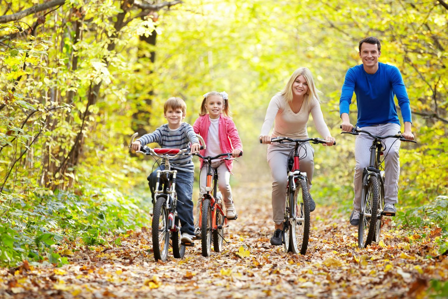 Family,On,Bikes,In,The,Park,In,Autumn